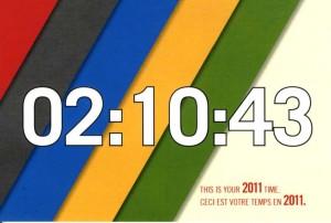 Postcard showing my Ottawa Half-Marathon 2011 time