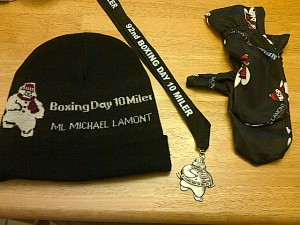 Nice bling from the Boxing Day 10 Miler (I bought the gloves for $5)
