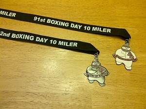 The 2011 and 2012 Boxing Day 10 Miler Medals