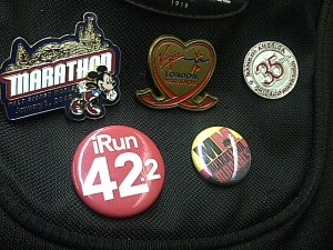 Pin collection on my backpack representing my 2012 running success!