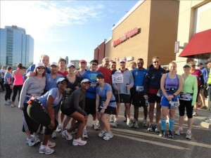 Square One Running Room Mississauga Half-Marathon Clinic 2012 and friends on race day