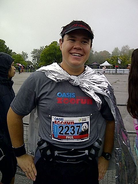 Wearing a foil blanket as a cape before the Oasis Zoo Run 2013