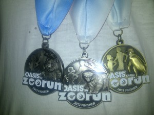 Detail of the 2013, 2012 and 2011 Oasis Zoo Run Medals