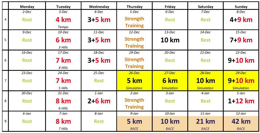 Dopey Training Schedule, December 2013