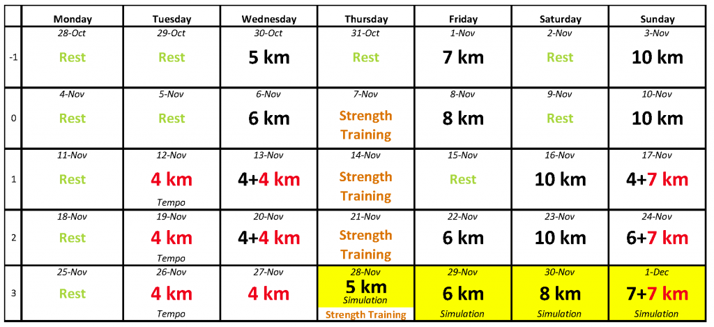 Dopey Training Schedule, November 2013