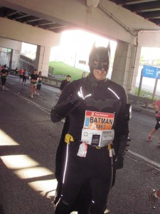 The DarkKnightRunner ran the marathon as a fundraiser for SickKids