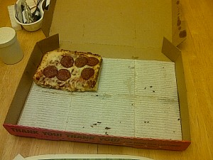 Little Caesar's Deep! Deep! Dish Pizza: After. The pizza won... close enough
