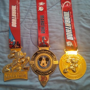 Walt Disney World Marathon Medals from 2012, 2013, and 2014