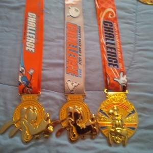 Walt Disney World Goofy Challenge Medals from 2012, 2013, and 2014