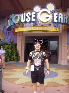 The mousegear background was too appropriate for this shirt!