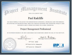 My Project Management Professional (PMP) certificate from the Project Management Institute (PMI)