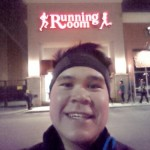 Being cool at the Square One Running Room after a run