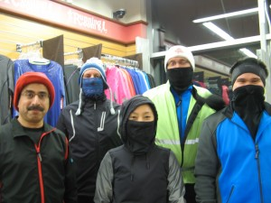 Chilly Half-Marathon clinic runners in Ninja-mode before one of our last runs