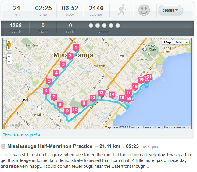 dailymile info of Sauga Half Preparation