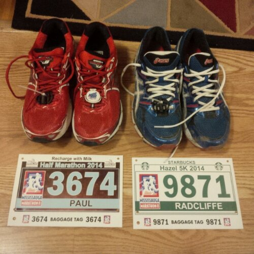 Shoes, bibs, with chips. I needed a reference to be sure which shoe was for which race