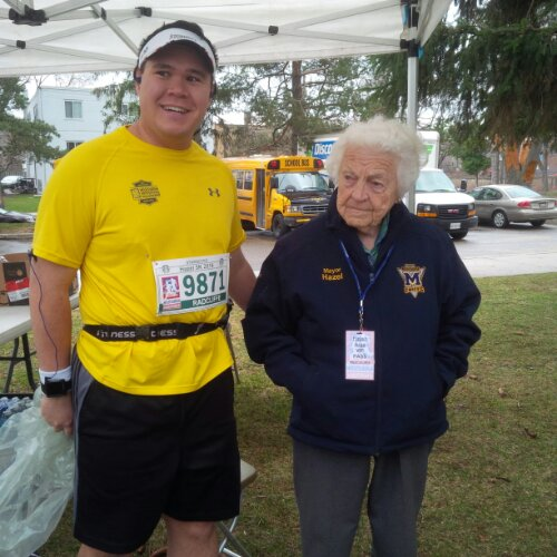 With Mississauga Mayor Hazel McCallion before the Mississauga Marathon Starbucks Hazel 5k