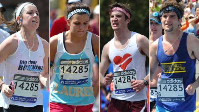 Many people wearing Bib 14285 at the 2014 Boston Marathon. None of them earned it (source)