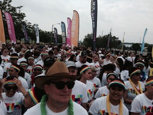 Waves of people waiting to start