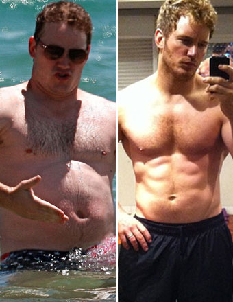 Actor Chris Pratt before and after photo (source)