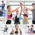 Stock photos of overly happy people at a gym (image source)