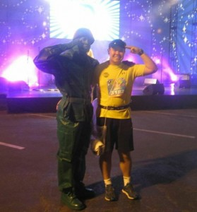 With a Toy Soldier from Toy Story before the Disney land Half-Marathon