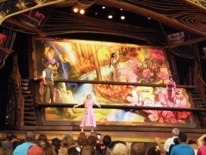 Scene from Mickey's Magical Map. Features Pocahontas, Mulan and Rapunzel (and Flynn)