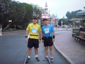 Mark and I in Disneyland during the Disneyland half-marathon