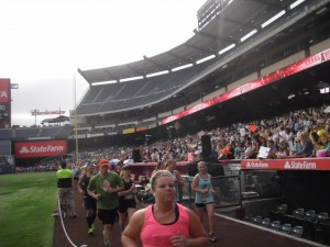 Lotsa people in the stadium two watch us run by