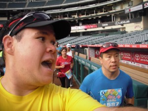 Mark! Look!! We're running through a baseball stadium!!