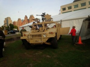Military Humvee on display by the Army Run expo