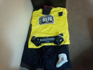 """Flat Runner"" Race gear laid out and ready to go"