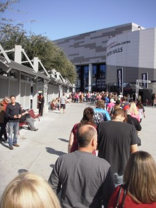 Line up to get into the expo for the Rock 'n' Roll Las Vegas race weekend expo