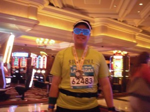 Walking through the Bellagio's casino after the 5k. I felt rather out of place in my running gear...