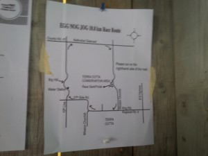 Race map posted on a wall in the shelter