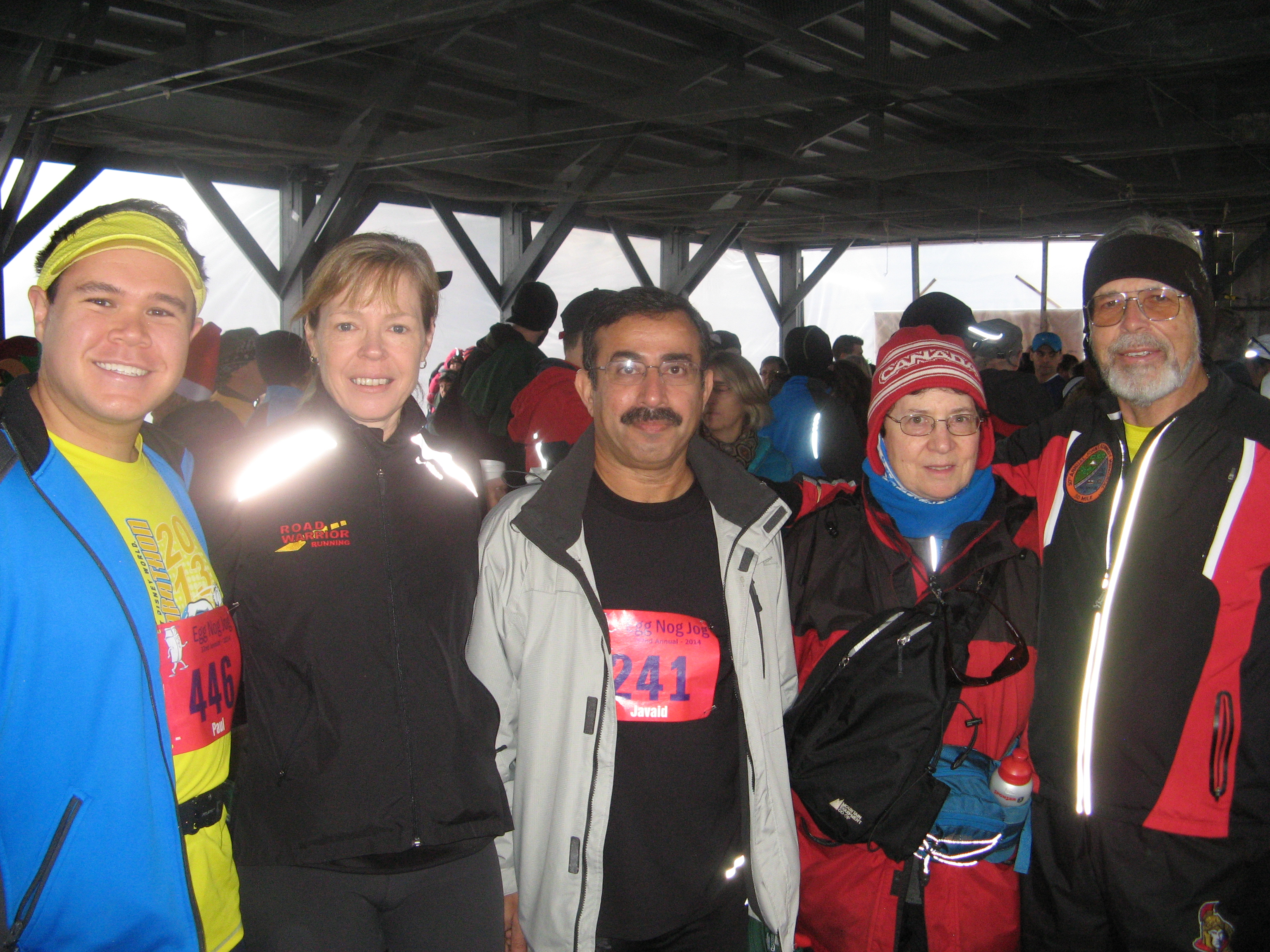 Group shot before the Egg Nog Jog. L-R Me, Robyn, Javaid, ???, Ken (image credit Javaid)