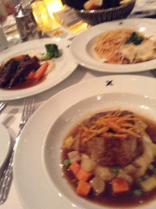 Many entrees in one picture: Flank Steak, Beef Wellington and Spaghetti
