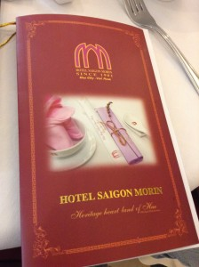 Cover of menu from Hotel Saigon Morin in Hue