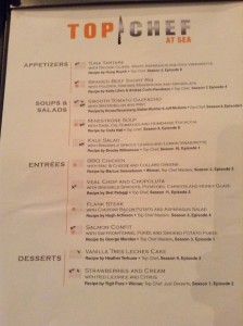 Menu inspired by the cooking reality show 'Top Chef'