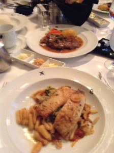 Fish with Pasta and Steak