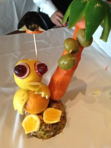 Carving Demonstration: Bird from lemon, orange, and other fruits and vegetables