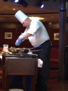 "Executive chef demonstrating ""How to Cook the Perfect Fish"""