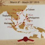 Route of the Celebrity Century March 8-22, 2015 through the South China Sea