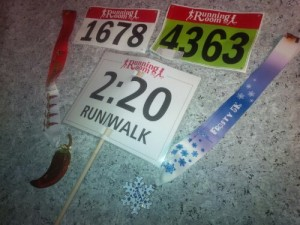 Bibs, medals and my pacer sign