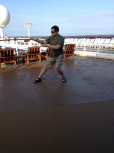 Practicing Tai Chi on the deck of the Celebrity Century