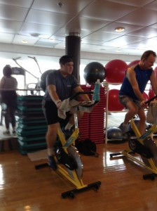During a spin bike class aboard the Celebrity Century