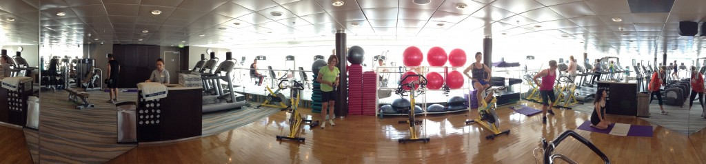 Panorama of the Fitness Centre (Gym) aboard the Celebrity Century