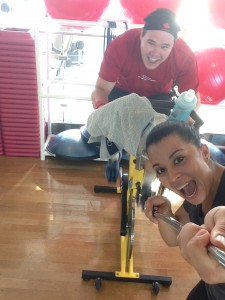 Trainer Maisa takes a selfie of us during spin class