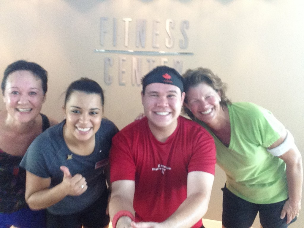 Spin class regulars: Sue, Trainer Maisa, myself, and Jane. Sweaty selfie after a spin class