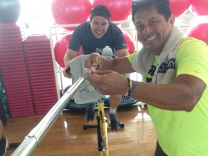 Trainer Carlo takes a picture of us with my selfie-stick during a spin class