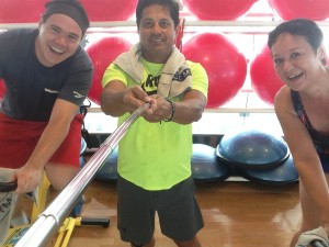 Myself, trainer Carlo and Sue from Australia selfie during spin class